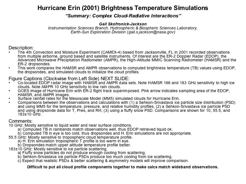 Hurricane Erin (2001) Brightness Temperature Simulations