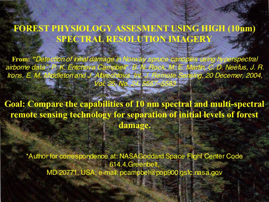 Forest physiology assessment using high (10mm) spectral resolution imagery