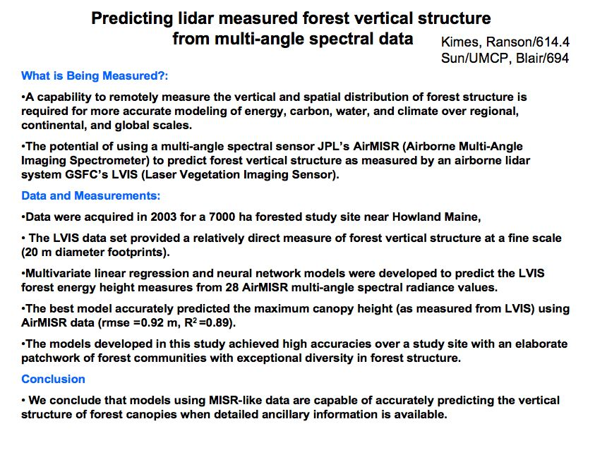 Predicting lidar measured forest vertical structure from multi-angle spectral data