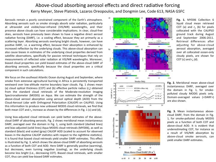 Above-cloud absorbing aerosol effects and direct radiative forcing
