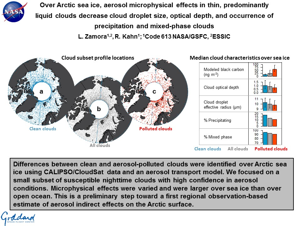 Over Arctic sea ice, aerosol microphysical effects in thin, predominantly liquid clouds decrease cloud droplet size, optical depth, and occurrence of precipitation and mixed-phase clouds