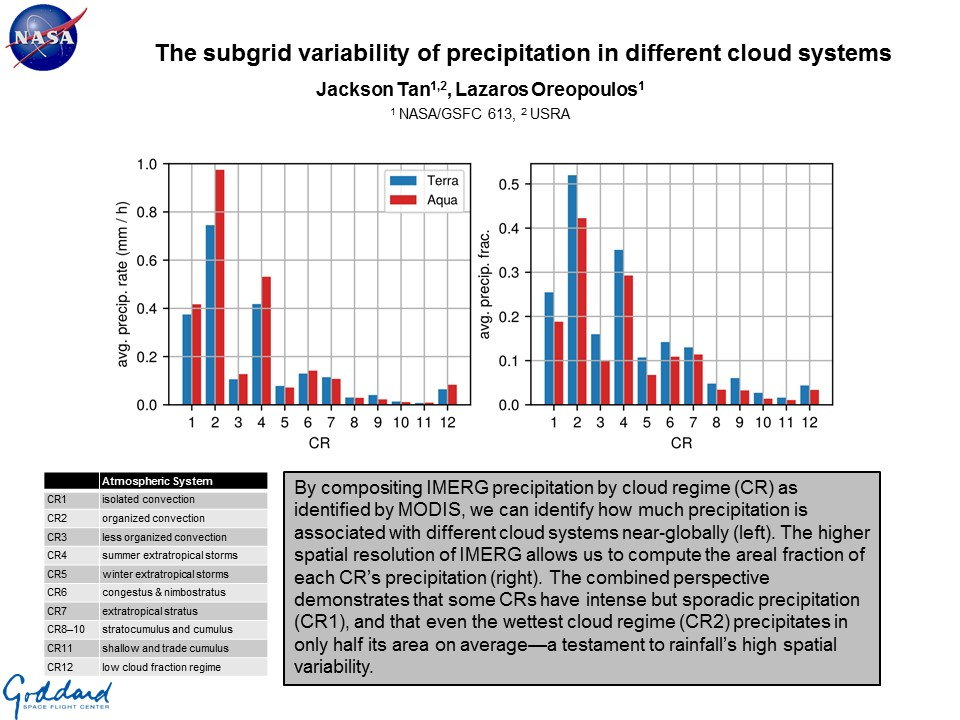 The subgrid variability of precipitation in different cloud systems