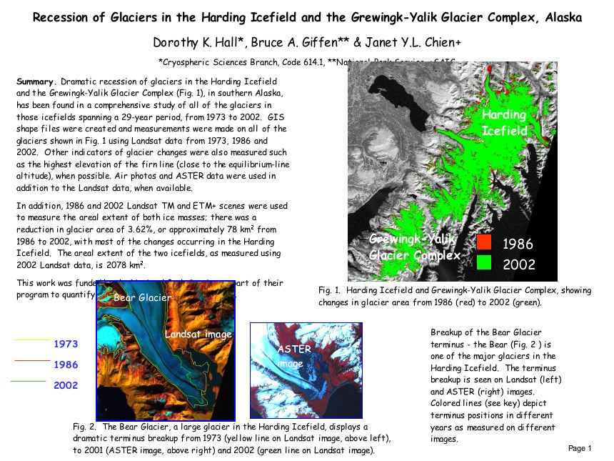 Recession of Glaciers in the Harding Icefield and the Grewingk-Yalik Glacier Complex, Alaska