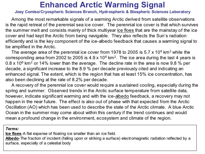 Enhanced Arctic Warming Signal (continued)