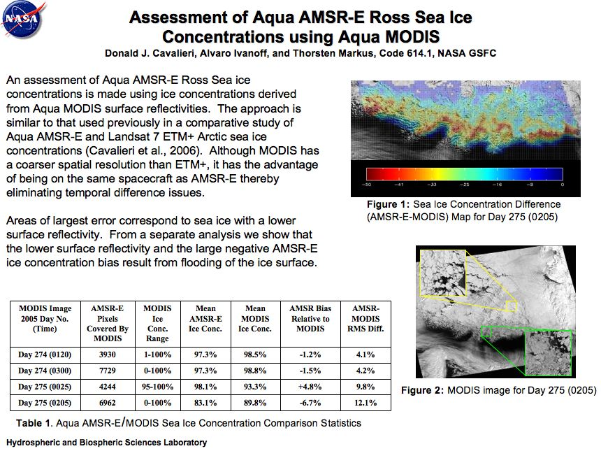 Assessment of Aqua AMSR-E Ross Sea Ice Concentrations using Aqua MODIS
