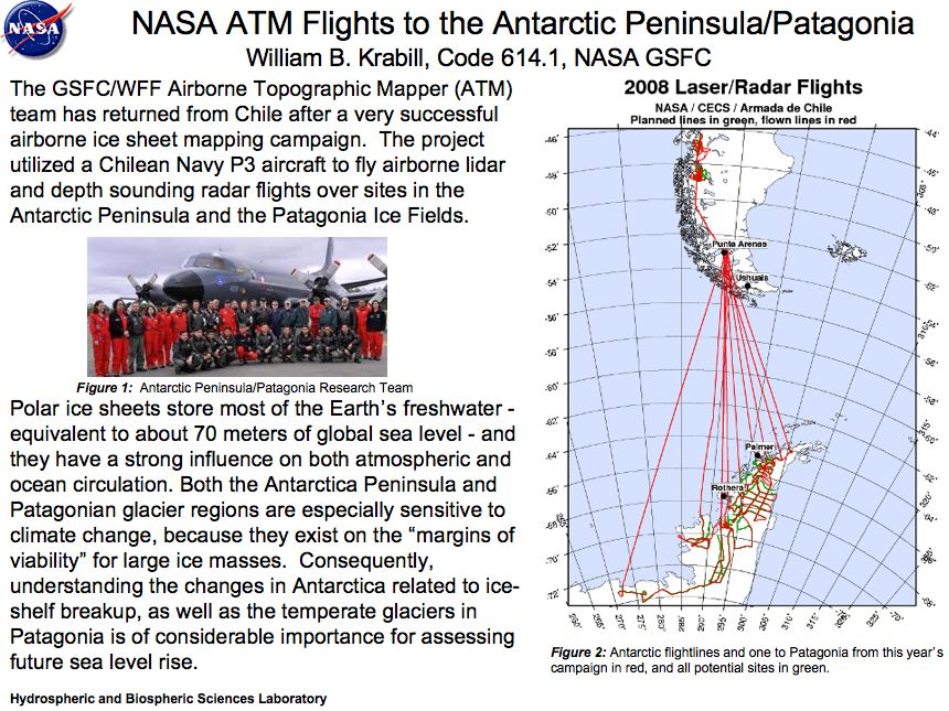 NASA ATM Flights to the Antarctic Peninsula/Patagonia