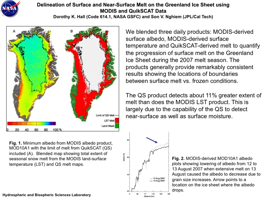 Delineation of Surface and Near-Surface Melt on the Greenland Ice Sheet using MODIS and QuikSCAT Data