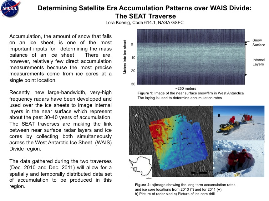 Determining Satellite Era Accumulation Patterns over WAIS Divide: The SEAT Traverse