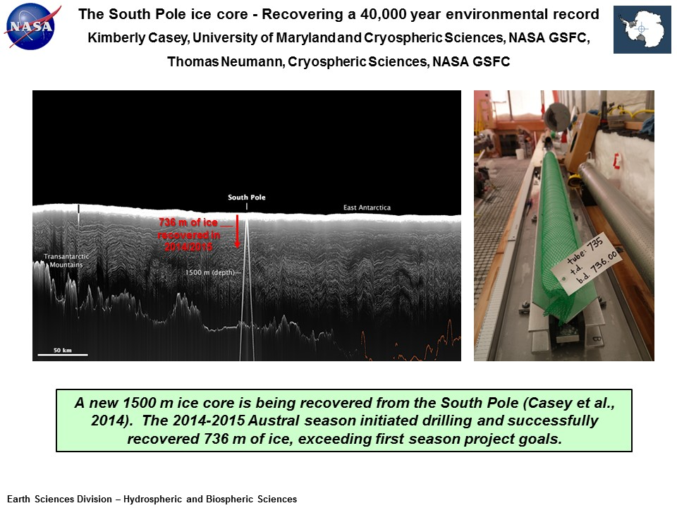 The South Pole ice core - Recovering a 40,000 year environmental record
