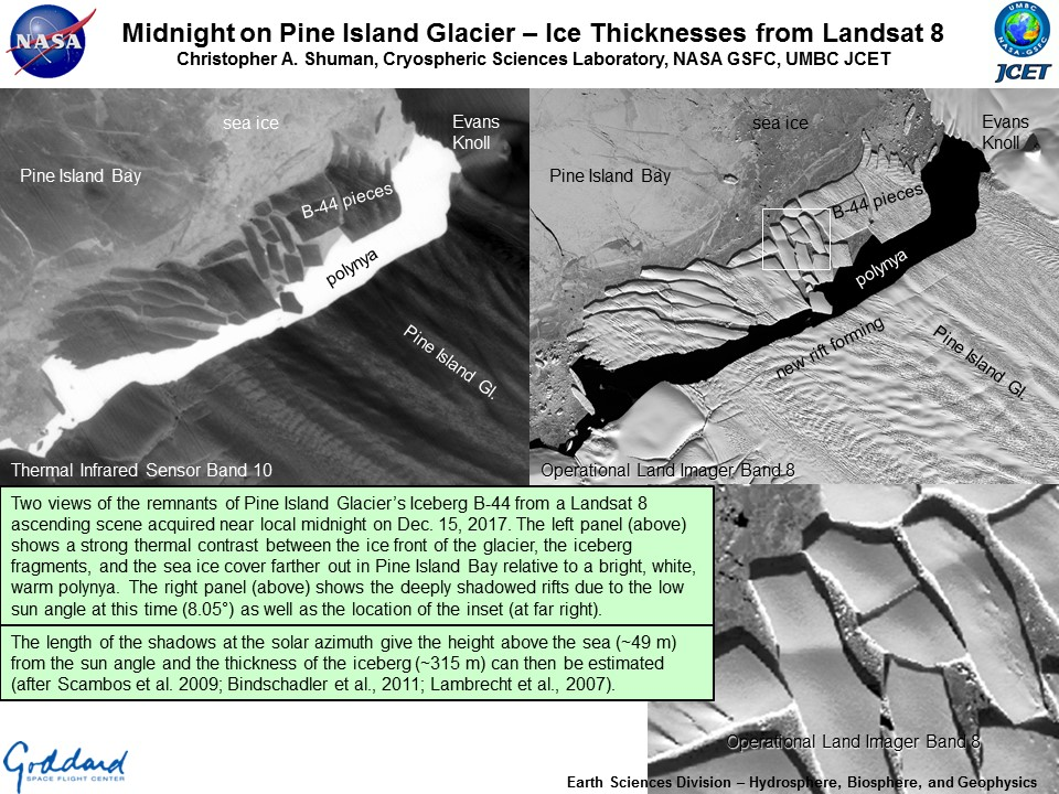 Midnight on Pine Island Glacier – Ice Thicknesses from Landsat 8