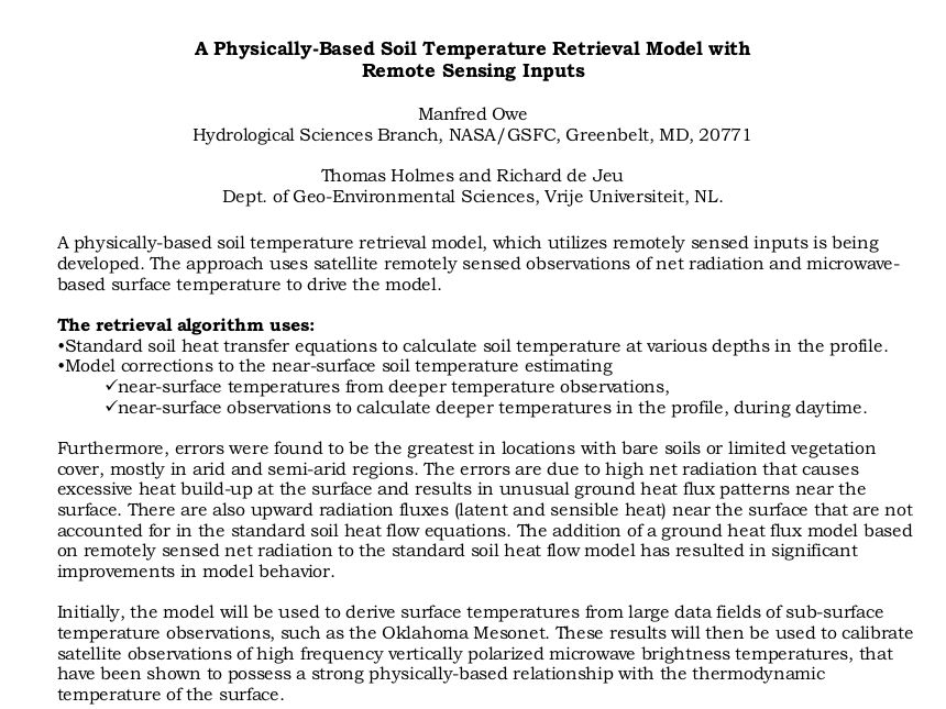 A Physically-Based Soil Temperature Retreival Model with Remote Sensing Inputs