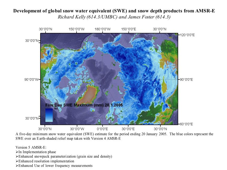 Development of global snow water equivalent (SWE) and dnow depth products from AMSR-E