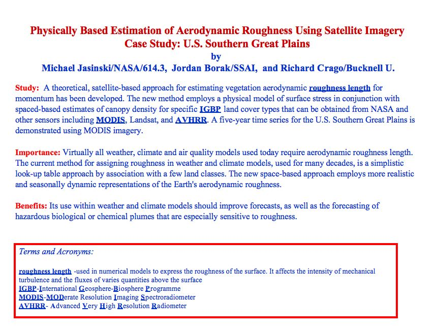 Physically Based Estimation of Aerodynamic Roughness Using Satellite Imagery Case Study: U.S. Southern Great Plains
