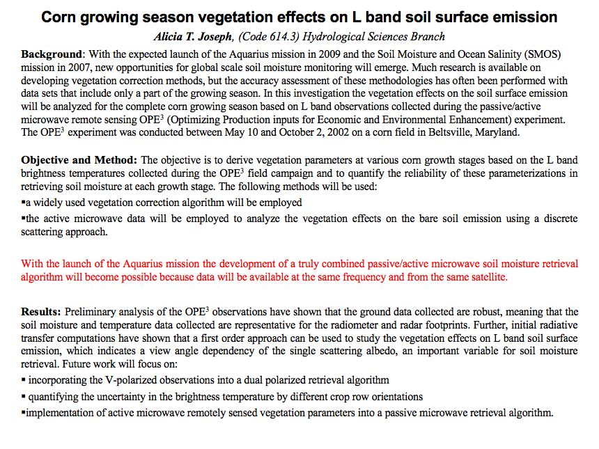 Corn growing season vegetation effects on L band soil surface emission