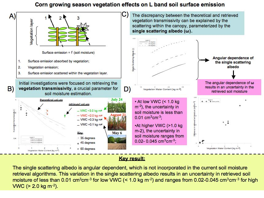 Corn growing season vegetation effects on L band soil surface emission (continued)