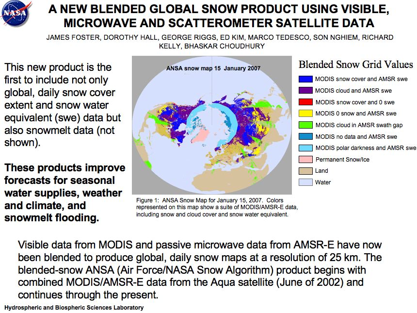 A New Blended Global Snow Product Using Visible, Microwave and Scatterometer Satellite Data