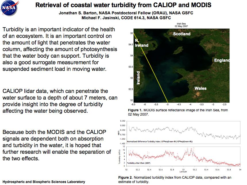Retrieval of coastal water turbidity from CALIOP and MODIS