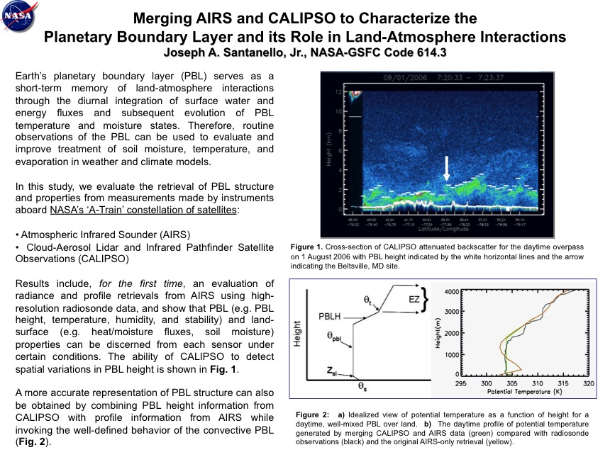 Merging AIRS and CALIPSO to Characterize the  Planetary Boundary Layer and its Role in Land-Atmosphere Interactions
