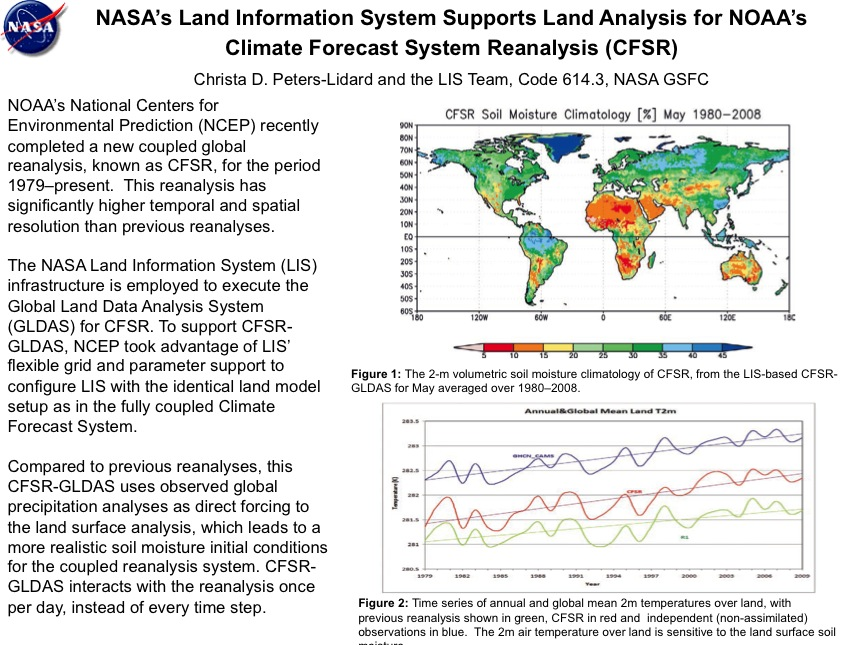 NASA's Land Information System Supports Land Analysis for NOAA's Climate Forecast System Reanalysis (CFSR)