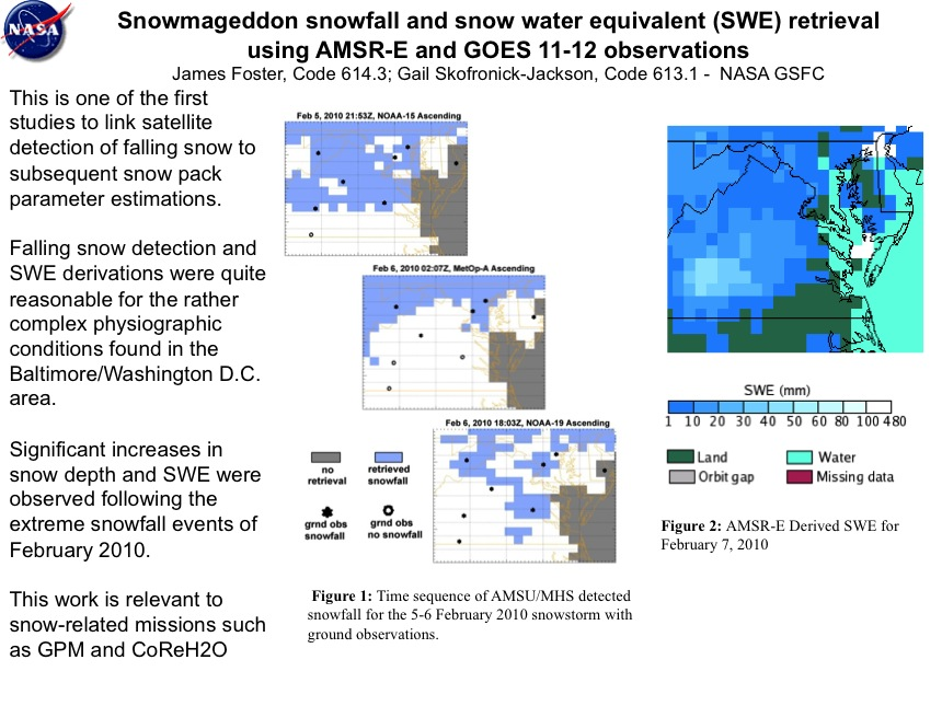 Snowmageddon snowfall and snow water equivalent (SWE) retrieval using AMSR-E and GOES 11-12 observations