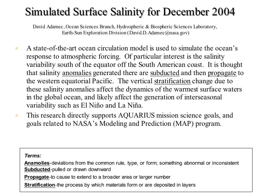 Simulated Surface Salinity for December 2004
