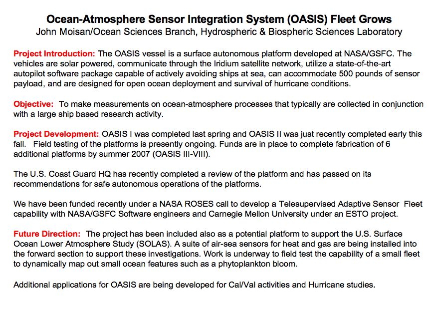 Ocean-Atmosphere Sensor Integration System (OASIS) Fleet Grows