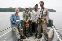 The AfriSAR Mangrove team in Pongara National park after a day of field work. <br>From left to right: Suzanne MArselis/ UMD, Laura Duncanson/GSFC, Lola Fatoyinbo/GSFC, Marc Simard/JPL