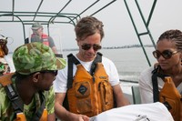 Left to right: Viannet (ANPN Ecoguard for the Pongara National Park) Marc Simard (Jet Propulsion Laboratory), Lola Fatoyinbo (Goddard Space Flight Center). In the back: Walley, boat pilot.
