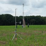 Members of the Spectral Bio-Indicators group (Code 618) set up automated sensors in the USDA Beltsville Agricultural Research Center cornfield. These sensors are able to measure spectral reflectance and fluorescence of the corn diurnally through the growing season.