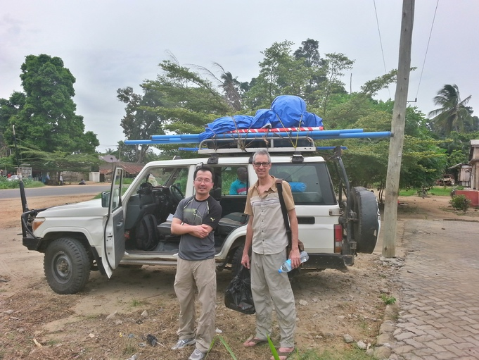 Getting ready to hit the road for the Rufiji Delta. <br>Left to right: SeungKuk Lee (NASA/GSFC) and Carl Trettin (USFS)