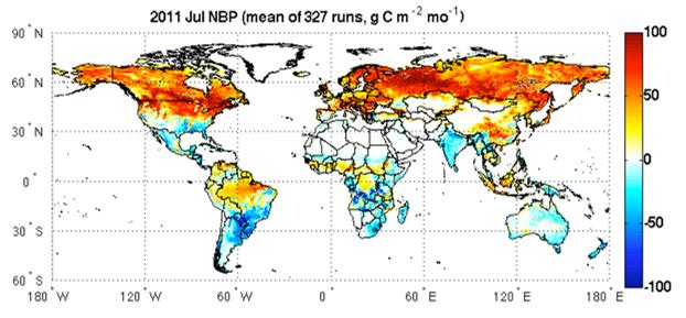 Global land carbon flux from CASA-GFED model  (courtesy G. James Collatz)