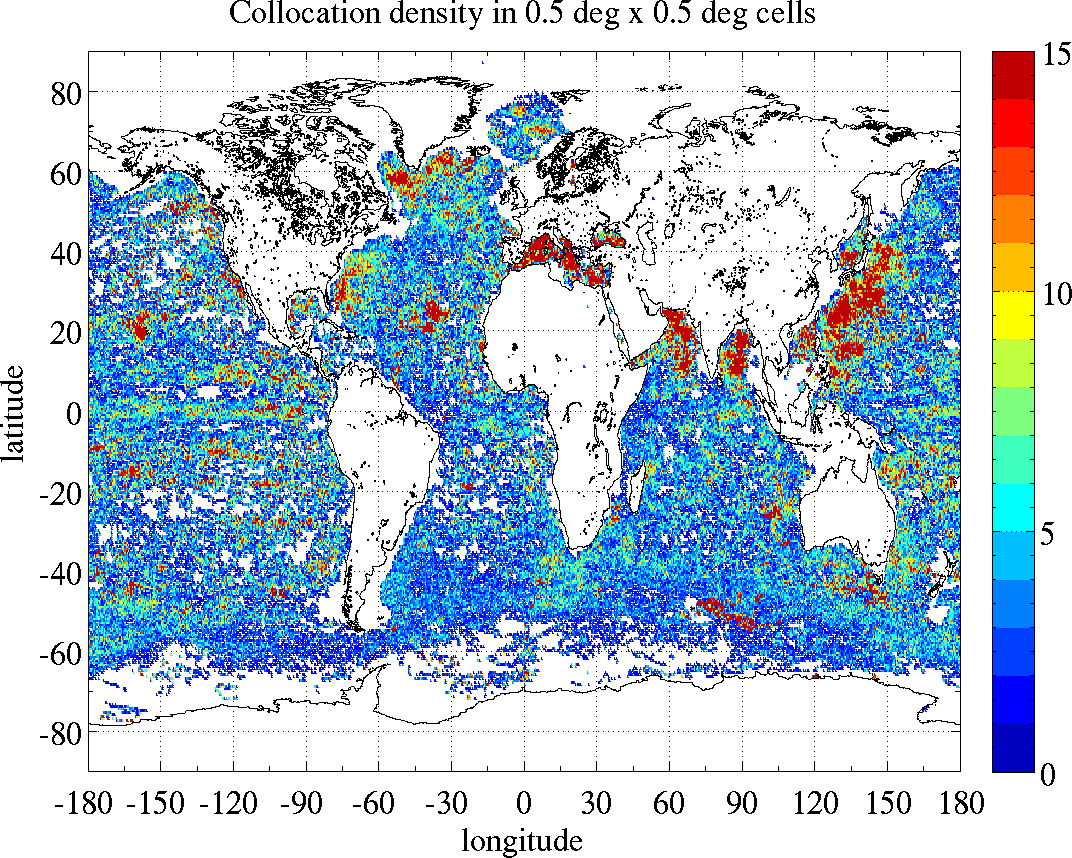 Argo sea surface salinity SSS spatial distribution density