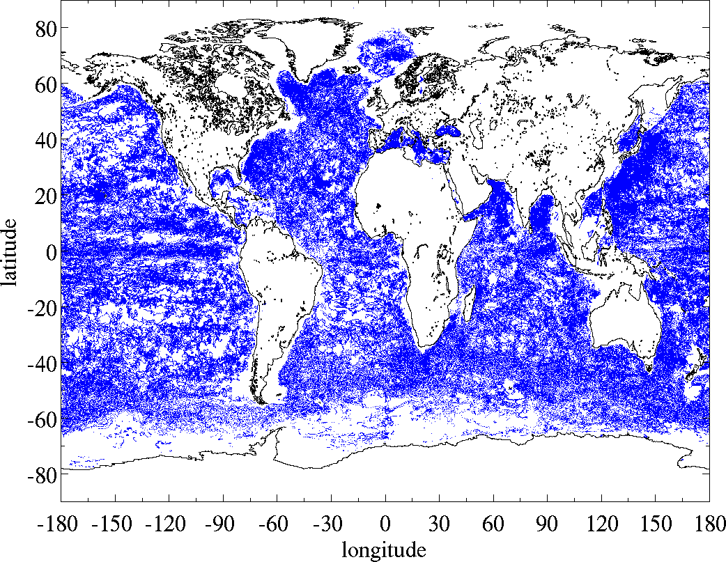 Spatial distribution collocations sea surface salinity SSS Argo Aquarius