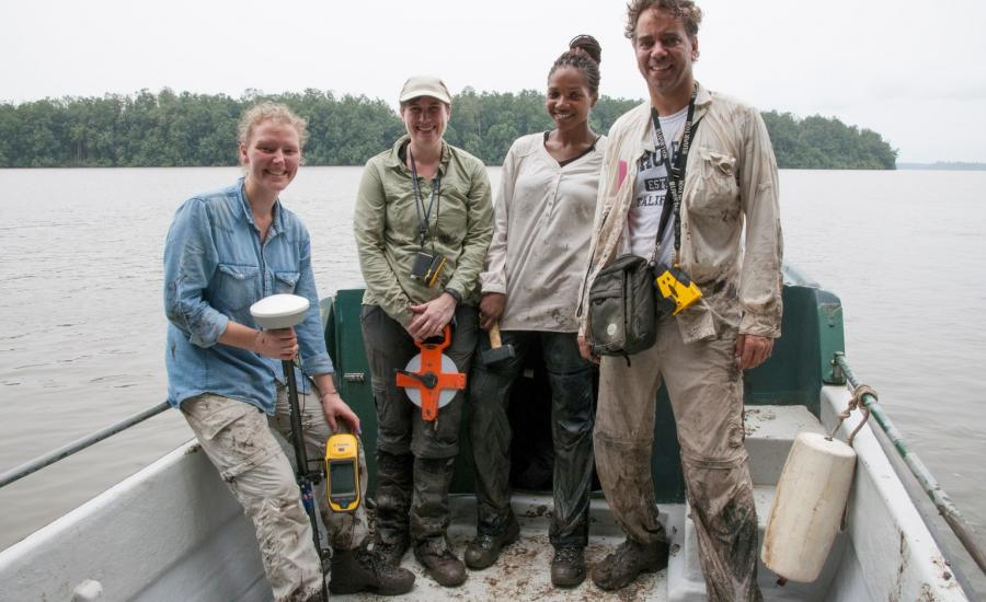 The AfriSAR Mangrove team in Pongara National park after a day of field work. From left to right: Suzanne MArselis/ UMD, Laura Duncanson/GSFC, Lola Fatoyinbo/GSFC, Marc Simard/JPL