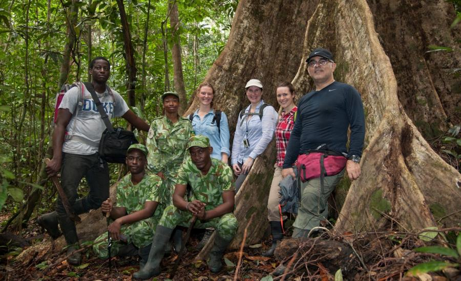 The AFriSAR rainforest team. From right to left: Sassan Saatchi (JPL), Victoria Meyer (JPL/CalTech), Laura Duncanson (GSFC), Suzanne Marselis (UMD), 3 ANPN Ecoguards, Leandre ANPN Research Assistant