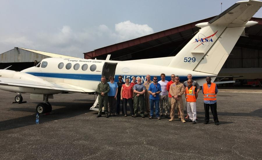 Part of the AfriSAR team in front of the NASA LaRC B-200 aircraft.