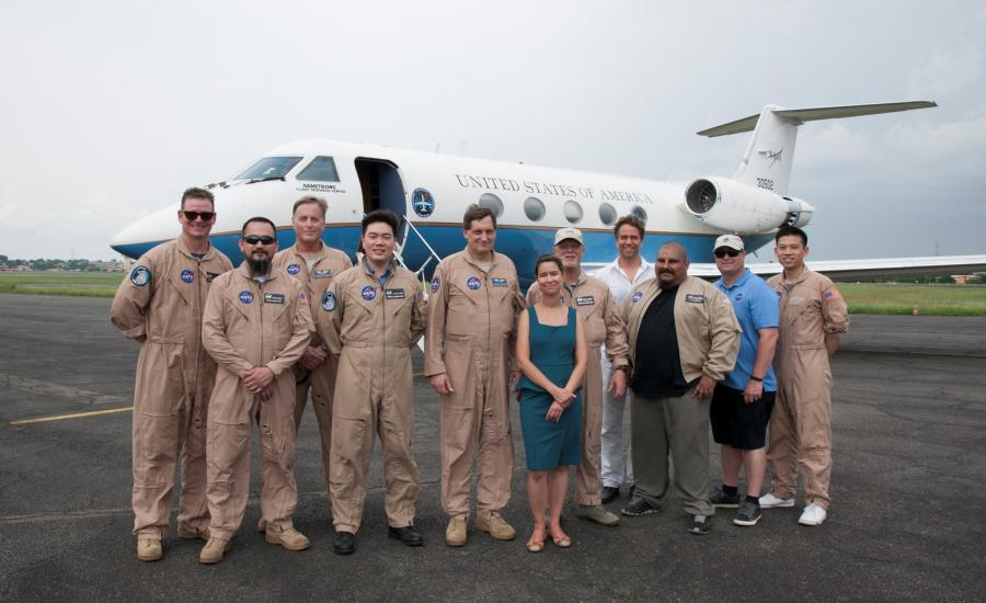 The NASA UAVSAR Crew in front of the C-20A research aircraft from NASA's Armstrong Flight Research Center in Edwards, California. The C-20A is one of two research aircrafts used during the AfriSAR campaign in Gabon. The radar flies 40,000 feet high mounted beneath the C-20A aircraft.