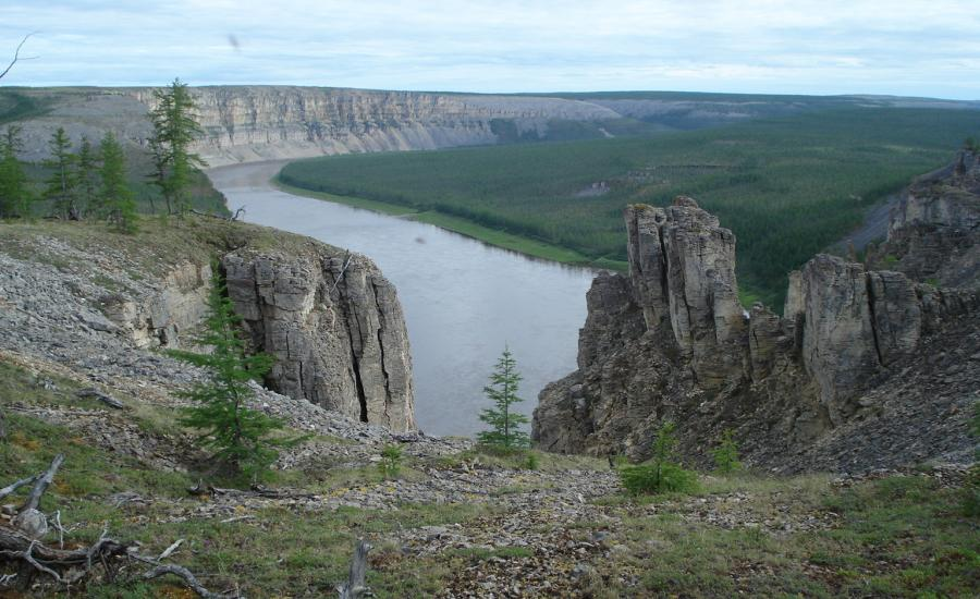 The cliffs above the confluence of the Kotuykan and Kotuy Rivers in northern Siberia.