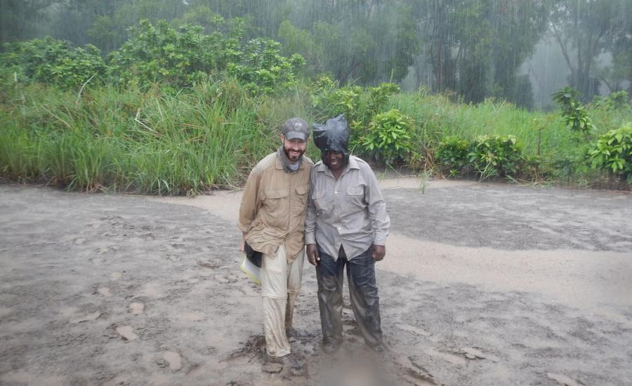 Enjoying some mapping in the rain. Left to right: David Lagomasino (NASA/GSFC) and Kekilia Namala (Tanzania Forest Service)